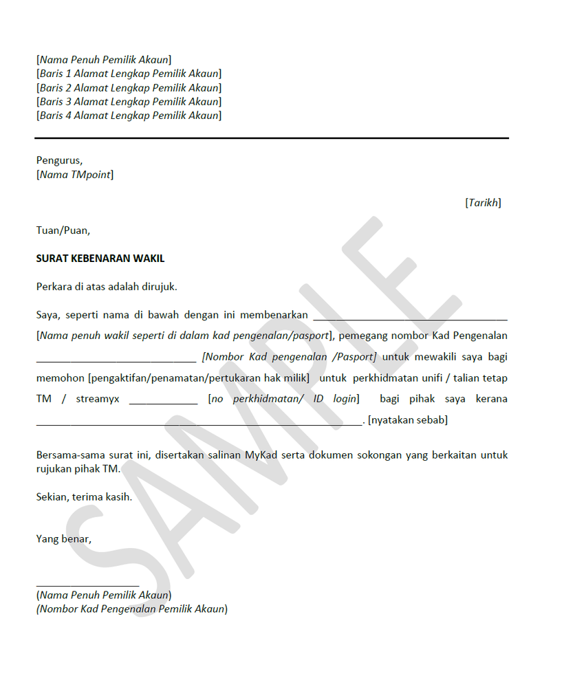 Letter Of Authorization To Collect Documents from community.unifi.com.my