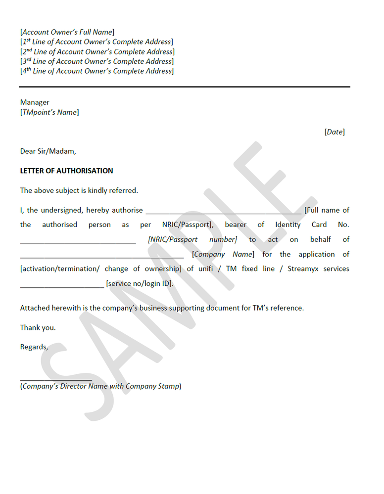 Authorization Letter To Sign On Behalf Of Company from community.unifi.com.my
