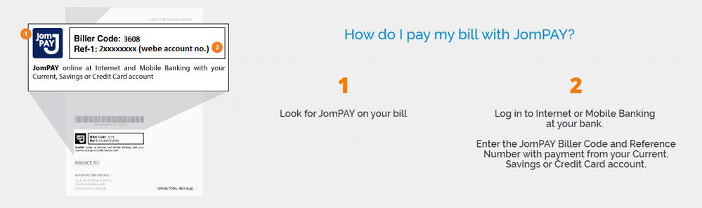 it's rather easy to pay with JomPAY
